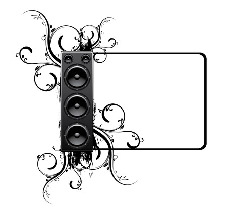 abstract illustration with floral, grunge and speaker