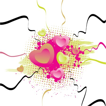 valentine illustration with hearts, grunge and floral
