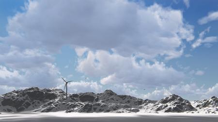 electricity generator: wind electricity generator in mountain