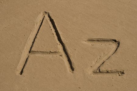 A, z letters on the sand photo