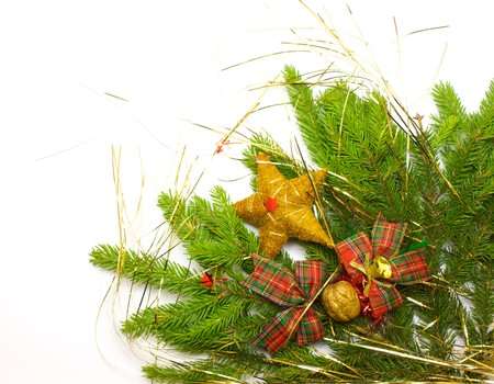 Green fresh spruce branch with decoration isolated on white photo