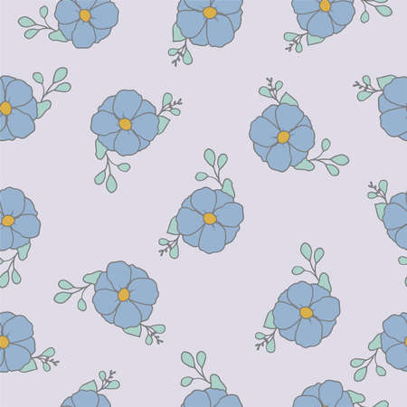 light blue flowers repeat pattern. Beautiful blue floral retro background. Nice fabric design on light background. Surface pattern design.