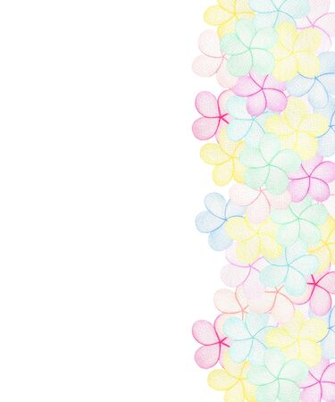 abstract colorful frame with pastel colored flowers, simple watercolor illustration for card or invitation, happy floral design Imagens