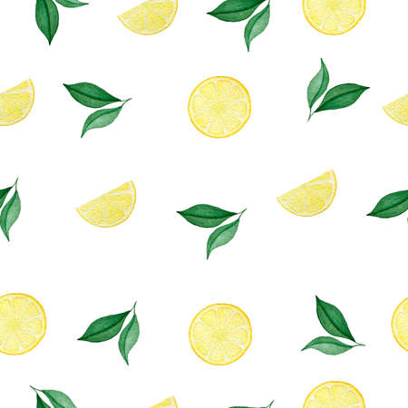juicy lemon slices and green leaves seamless pattern, watercolor tropical fruit illustration, bright lemon pattern design for wrapping, fabric or backgrounds Foto de archivo