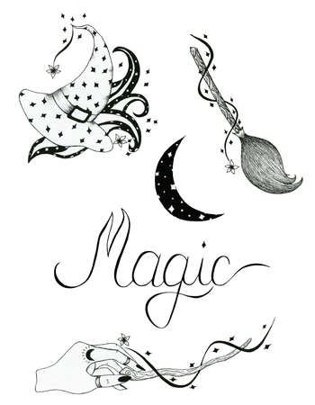 Halloween art, hand drawn cartoon Halloween elements isolated on white, Halloween background and magic concept, black witch spells design 免版税图像