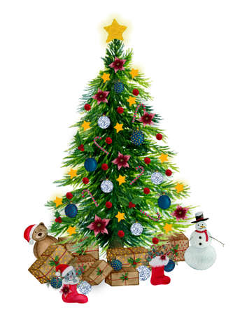 Christmas tree with decorations and gifts isolated on white, watercolor Christmas scene illustration for cards, greetings or designs, Christmas tree template Imagens