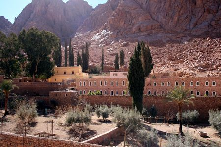 The Greek Orthodox monastery of St. Catherine at the foot of Mount Sinai (2285 m) on the Sinai Peninsula, Egypt. People believe that Mount Sinai is the Biblical mountain were Moses received the Ten Commandments.  Stock Photo