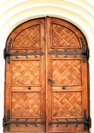 sigulda: The door at the entrance to a church Stock Photo