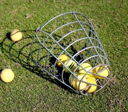 A bucket of practice range golf balls