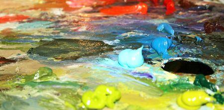 Multi - coloured oily paints