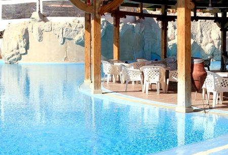 Lobby-bar among swimming-pools on territory of hotel in Makady bay photo