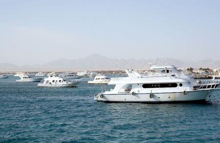 Ships, being anchored near Hurghada coast