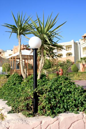 Lamp among tropical plants on territory of hotel