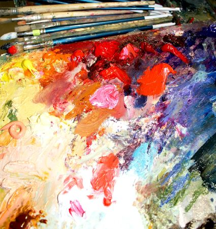 Multi-coloured paints and brush  Stock Photo - 4503633
