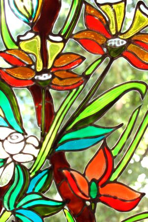 A view with stained glass window details.I am the author of this painting photo