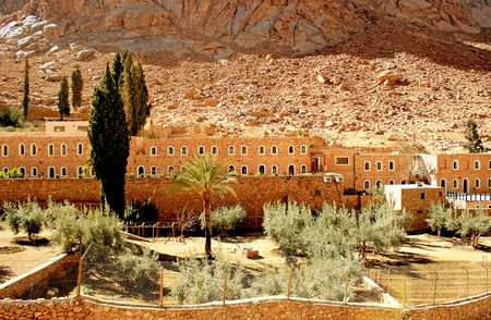 The Greek Orthodox monastery of St. Catherine at the foot of Mount Sinai (2285 m) on the Sinai Peninsula, Egypt. People believe that Mount Sinai is the Biblical mountain were Moses received the Ten Commandments. The Monastery was found by the Byzantine Em photo