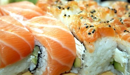 Sushi with a salmon and caviar
