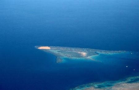 Island in the Red sea(view from plane) Stock Photo