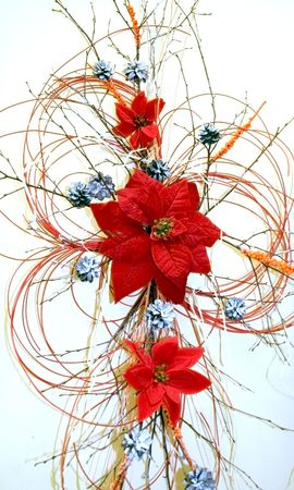 Christmas decoration with red poinsettia and cones photo