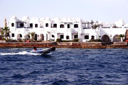 Modern buildings on coast in Hurghada