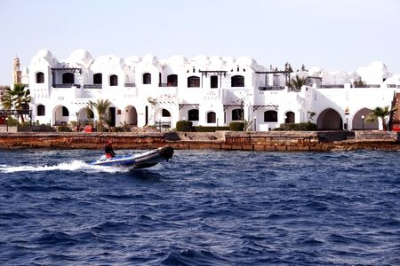hurghada: Modern buildings on coast in Hurghada