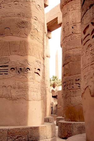 Columns at the Great hypostyle hall of Amona-Ra, Karnak, Luxor photo