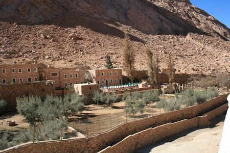 The Greek Orthodox St. Catherines monastery - at the foot of mount Sinai in the Sinai desert, Egypt.  photo