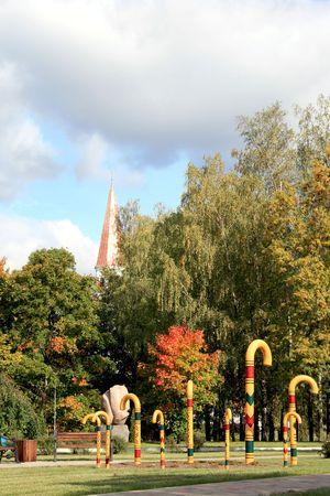sigulda: Decoraciones son en un parque Sigulda, Letonia