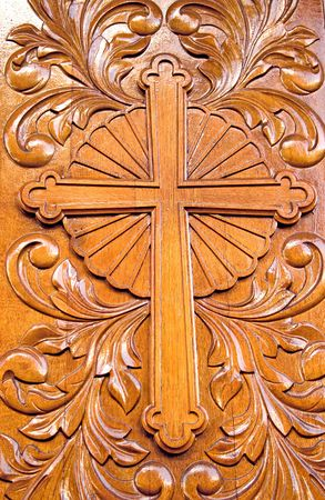 Fragment of decorative pattern of church door photo