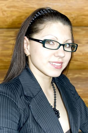 Portrait of young smiling business lady in glasses Stock Photo - 5508203