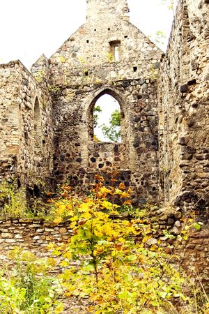 Ruins of old castle in town Sigulda, Latvia photo