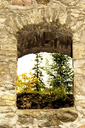 sigulda: The arched window in ruins of old castle in Sigulda, Latvia Stock Photo