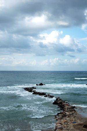 yam israel: Mediterranean sea winter after a thunderstorm, Bat-Yam, Israel