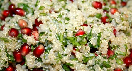 halved  half: Vegetable quinoa salad with pomegranate corns