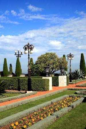 Magnificent Bahai garden in Acre, Israel.
