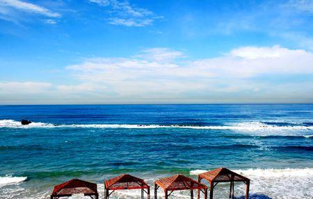 yam israel: Beach of Mediterranean sea in Bat Yam, Israel
