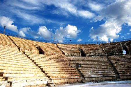 Ancient amphitheater of the period  Roman invasion in national park Caesarea on Mediterranean sea Stock Photo