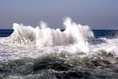 Waves after a storm  in Mediterranean sea Stock Photo