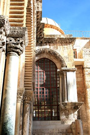 Wall Holy Sepulchre church in Jerusalem, Israel