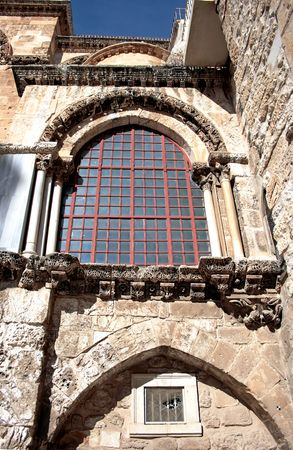 Wall Holy Sepulchre church in Jerusalem, Israel photo