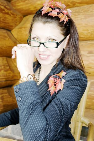 Portrait of young business lady in the glasses Stock Photo - 6361856
