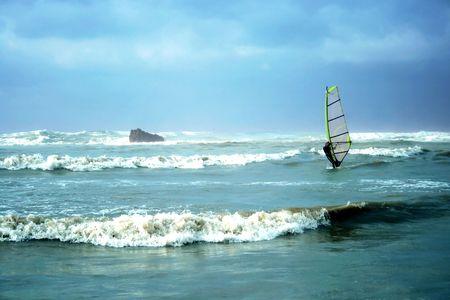 yam israel: Windsurfing after storm in Mediterranean sea