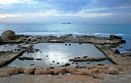ceasarea: Detail of ancient city ashore Mediterranean sea in Ceasarea, Israel