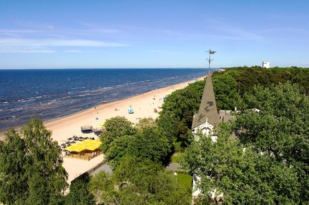 Jurmala beach - view from above on the forest and sea