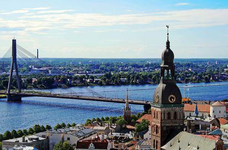 Riga from the height of bird flight, capital of Latvia.