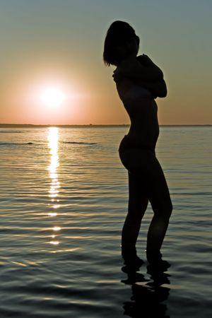 latvia girls: Silhouette of woman on sunset