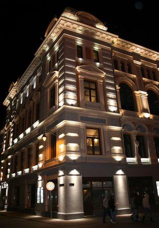 Old Riga architecture at night Stock Photo
