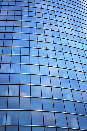 blue facades sky: Glass wall of office building