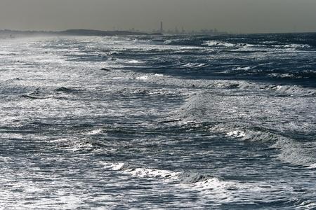 yam israel: Winter Mediterranean sea in Bat-Yam, Israel Stock Photo