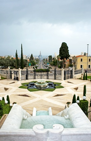 Panorama of Haifa city and Bahai Garden, Haifa, Israel photo
